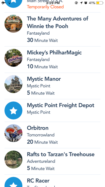 Use the Disneyland app to see wait times